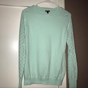 Mint green embellished sleeve sweater